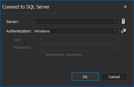 Connect to SQL Server window