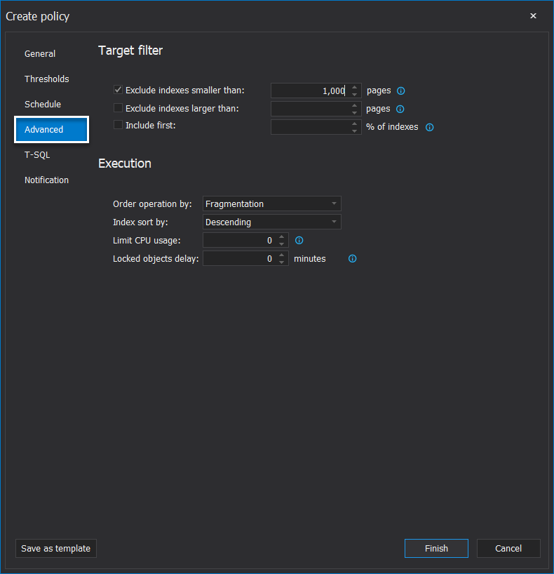ApexSQl Defrag_Configure filter for SQL server Index defrag policy
