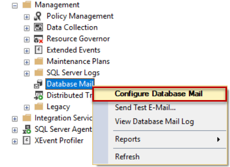 Configure Database Mail SSMS