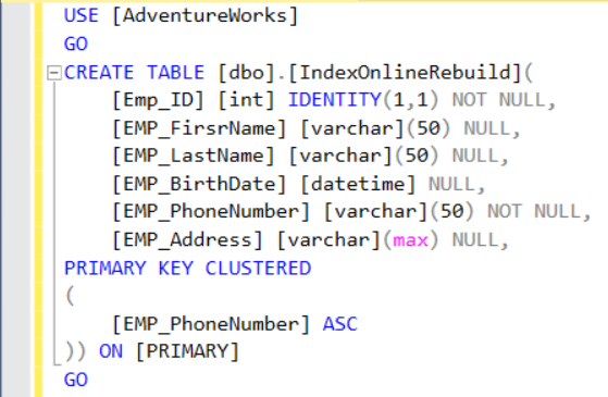 "Create new table with one SQL Server Index ""Clustered"""
