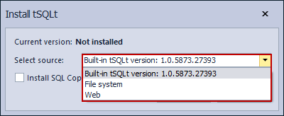 Selecting the tSQLt framework installation types in the ApexSQL Unit Test installation window