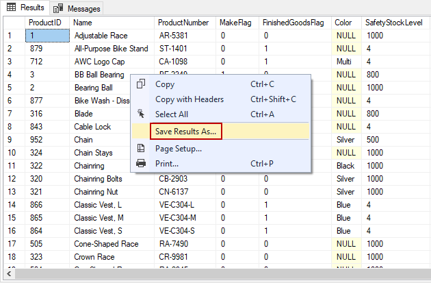 SSMS save results with headers using Save Results As option from the results grid