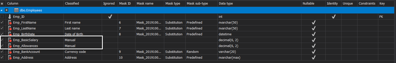 ApexSQL Mask - Check for Manual Classification