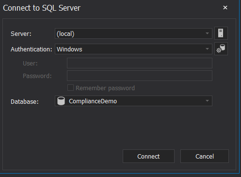 ApexSQL Mask - Connect to SQL Server
