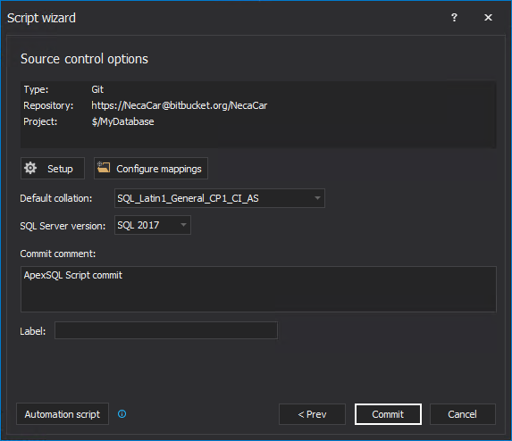Source control options information in the Script wizard