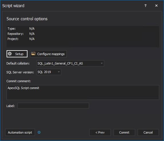 Source control options settings in the Script wizard