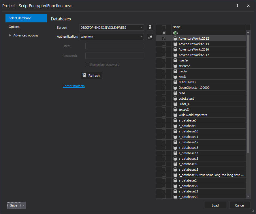 SQL database selection in the New project window