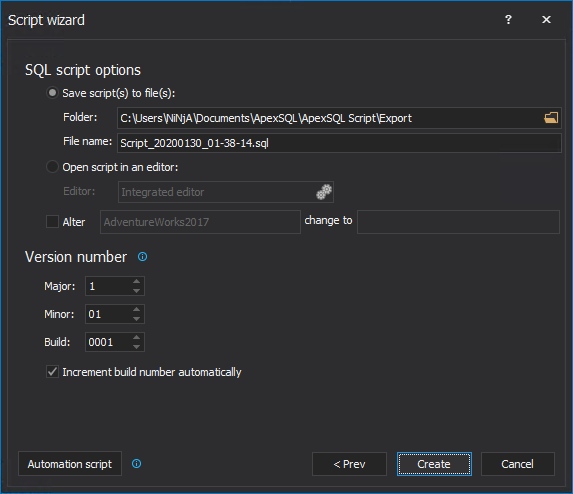 SQL script options step in the Script wizard