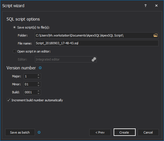 SQL script options step of the Script wizard