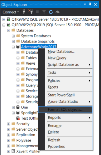 The Format SQL objects command from Object Explorer pane