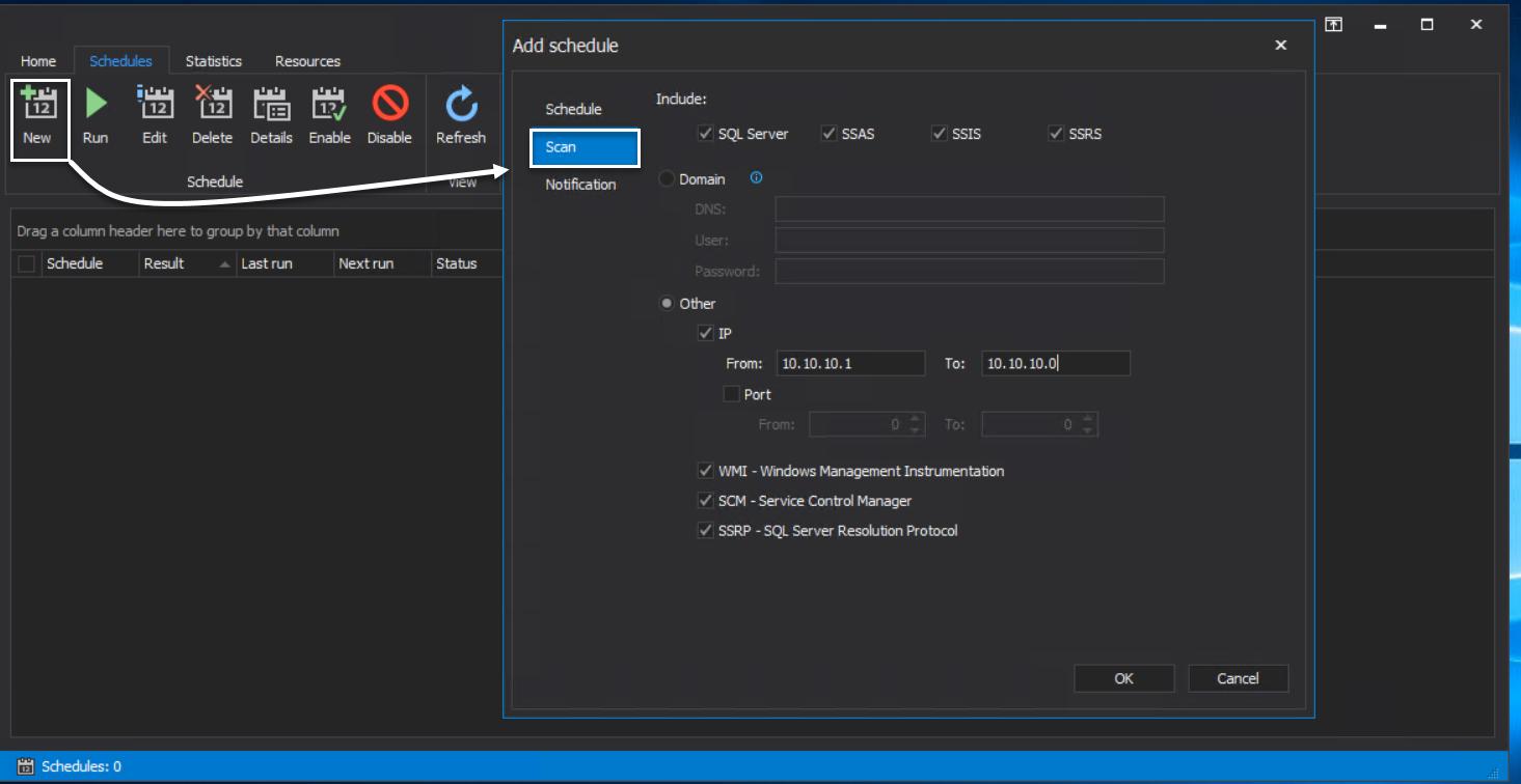 ApexSQL Discover - Scan Job config