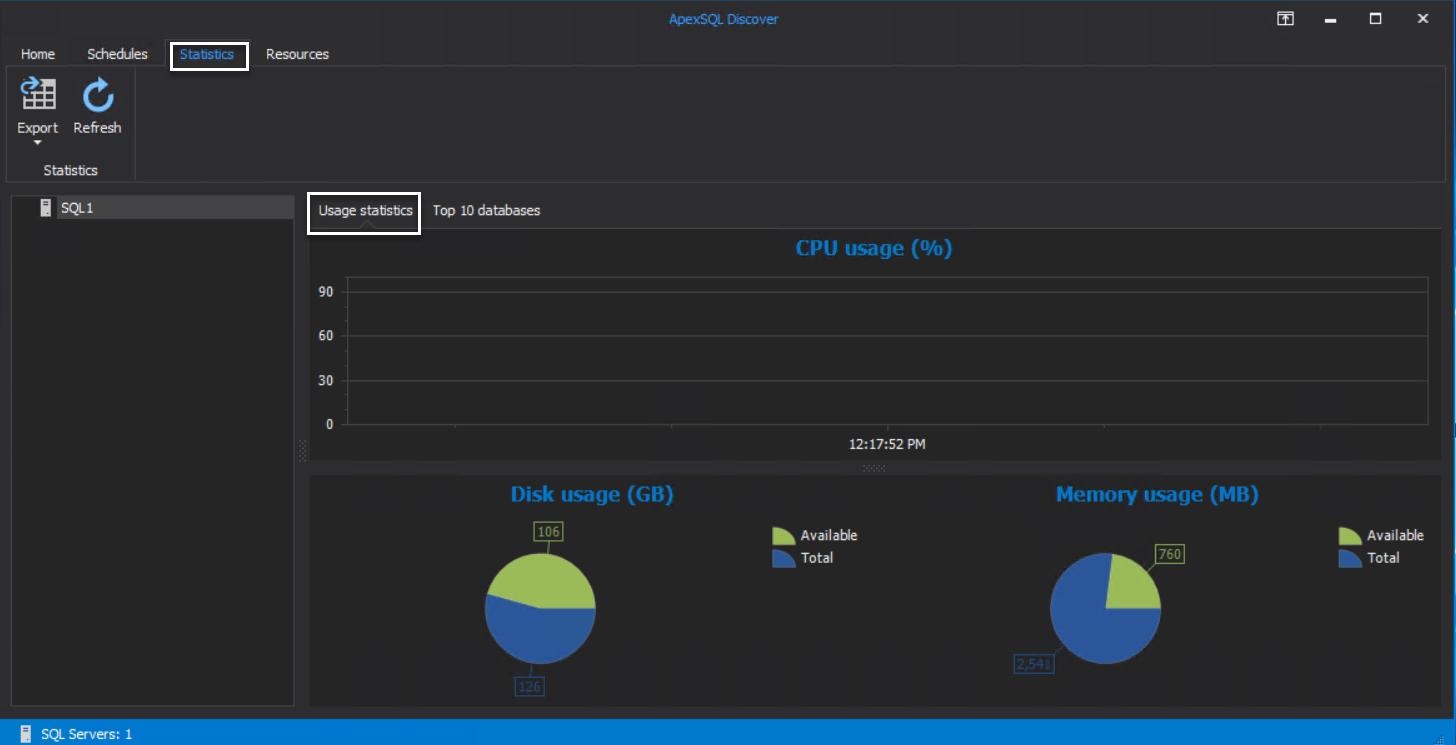 ApexSQL Discover - Usage Statistics