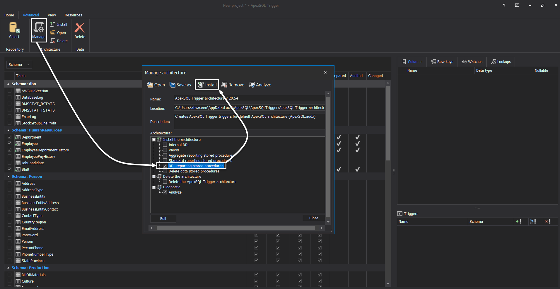 ApexSQL Trigger - Enable Schema