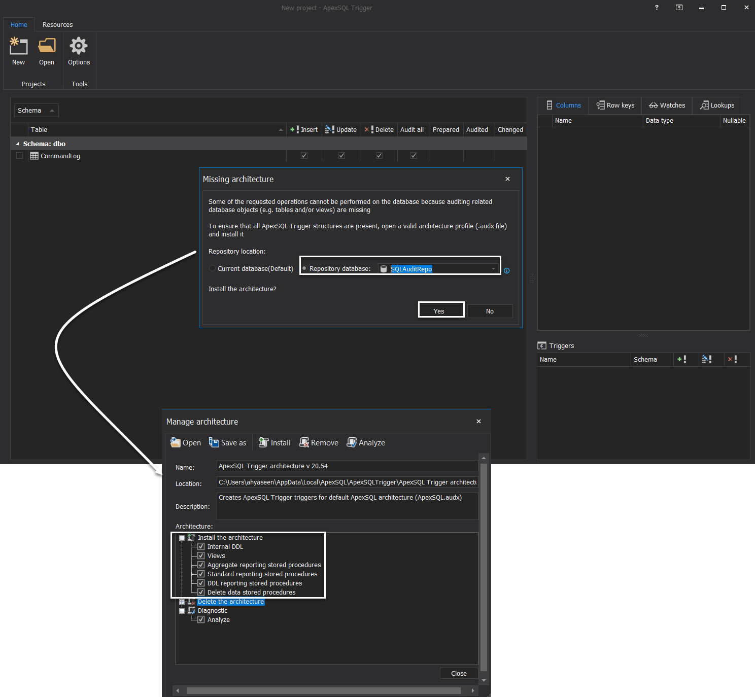 ApexSQL Trigger - Manage Architicture
