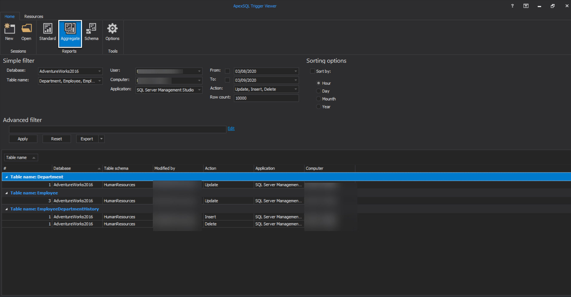 ApexSQL Trigger Viewer -Aggregate