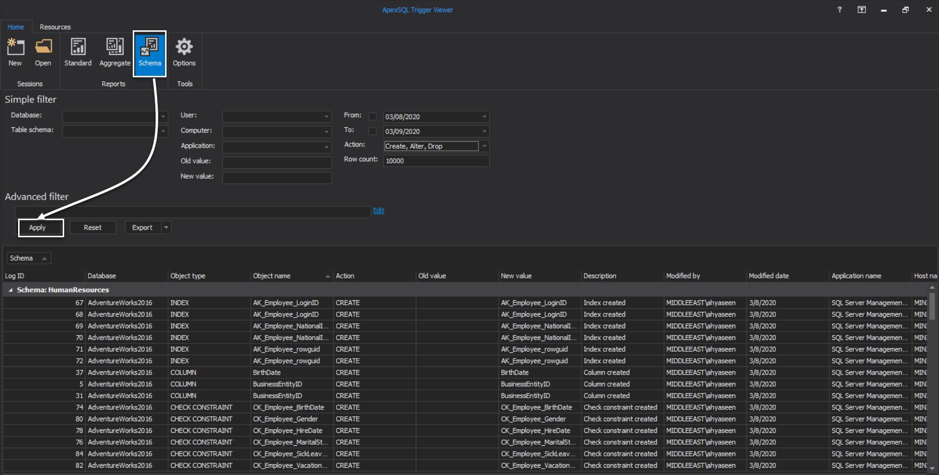 ApexSQL Trigger Viewer - Schema