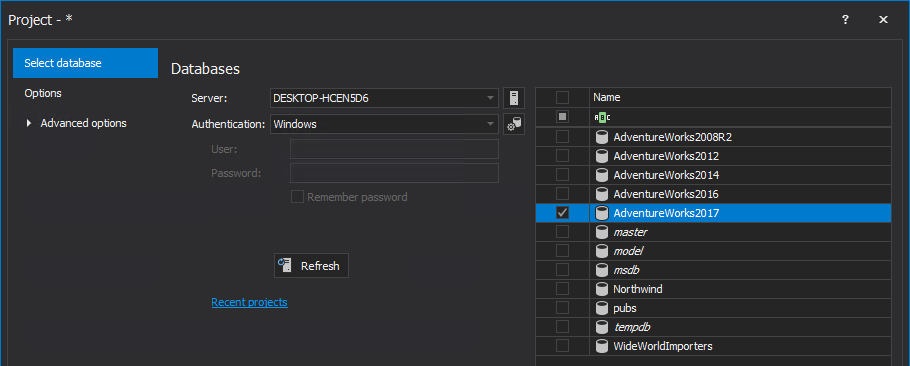 Choose a database under the Select database tab of the New project window