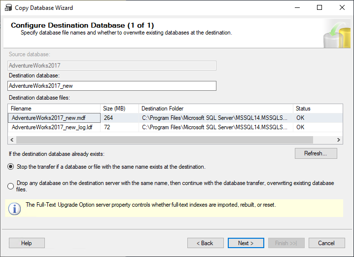 Configure Destination Database step in the Copy Database Wizard