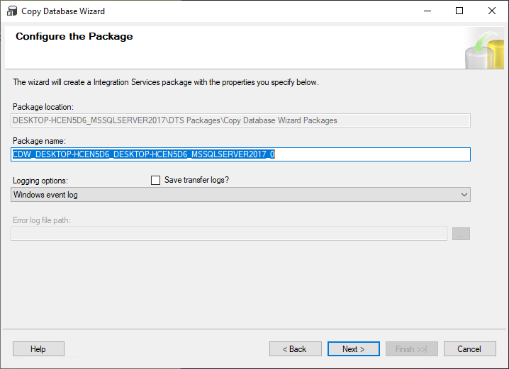 Configure the Package in the Copy Database Wizard