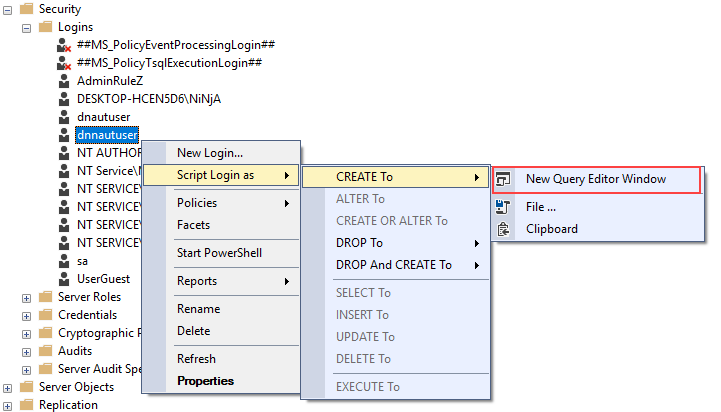 Open a selected SQL login script with the Script as function in SQL Server Management Studio