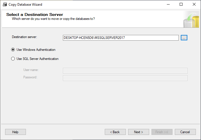 Select a Destination Server step in the Copy Database Wizard