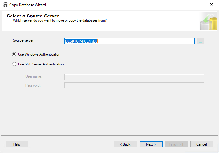 Select a Source Server step in the Copy Database Wizard