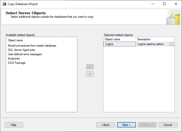 Select Server Objects step in the Copy Database Wizard