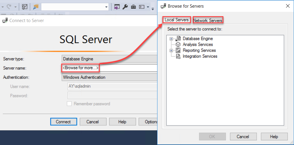 SSMS -  Browse for more servers