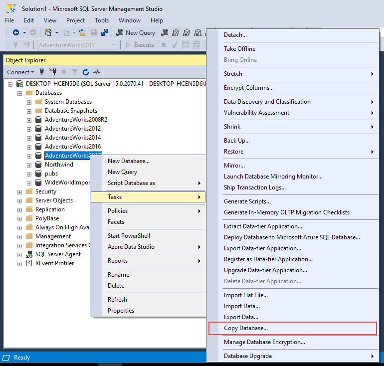Starting Copy Database Wizard in SQL Server Management Studio