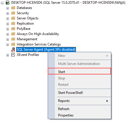 Starting SQL Server Agent in SQL Server Management Studio