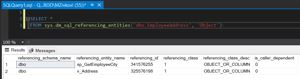View SQL dependency using the sys.dm_sql_referencing_entities function