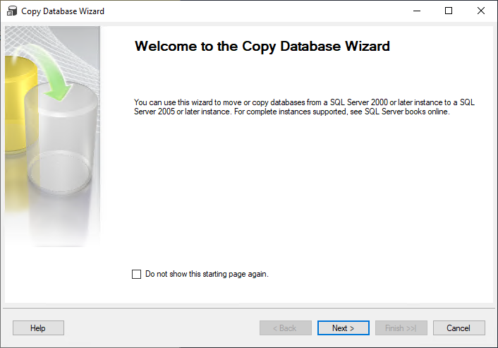 Welcome to the Copy Database Wizard step