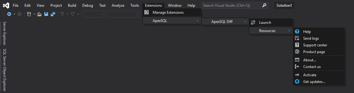 ApexSQL Diff add-in in Visual Studio Extensions