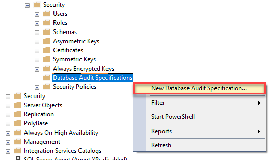 Create new database audit specification