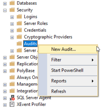Create SQL Server Audit