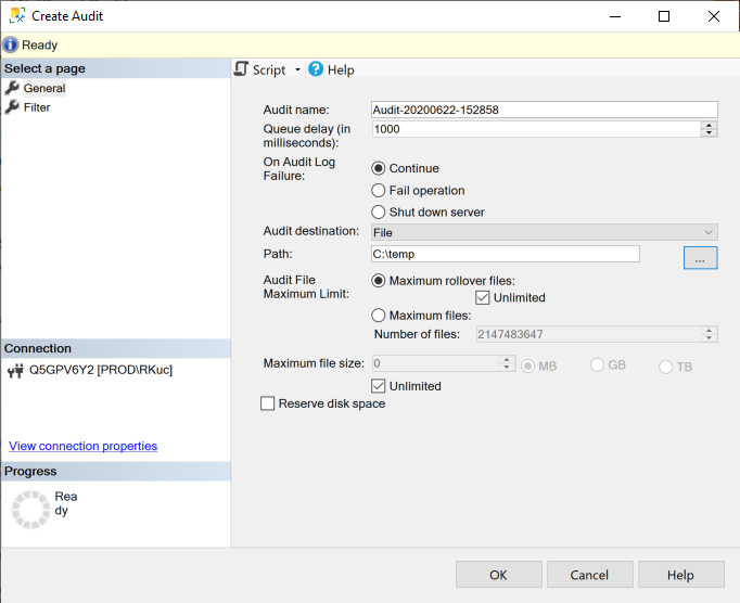 SQL Server Create Audit dialog