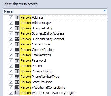 Grouped objects with the same schema under Select objects to search pane