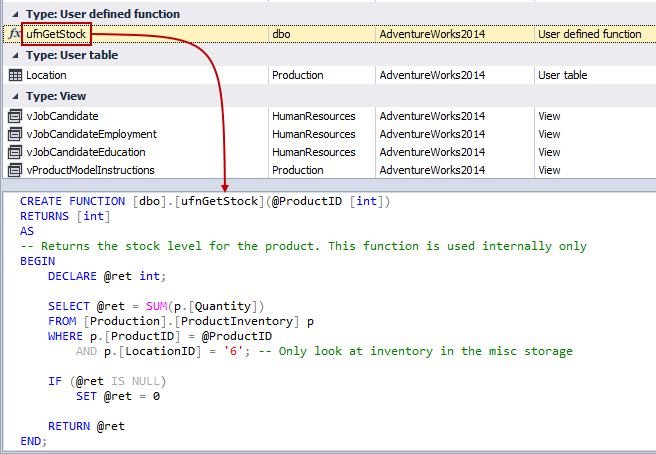 Object preview window with a definition of an object
