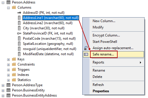 Safe rename command from Object Explorer in SSMS