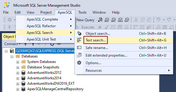 Text search command from ApexSQL main menu in SSMS