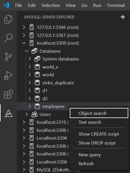 The Object search command