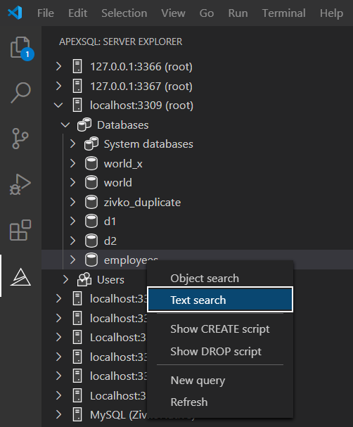 The Text search command