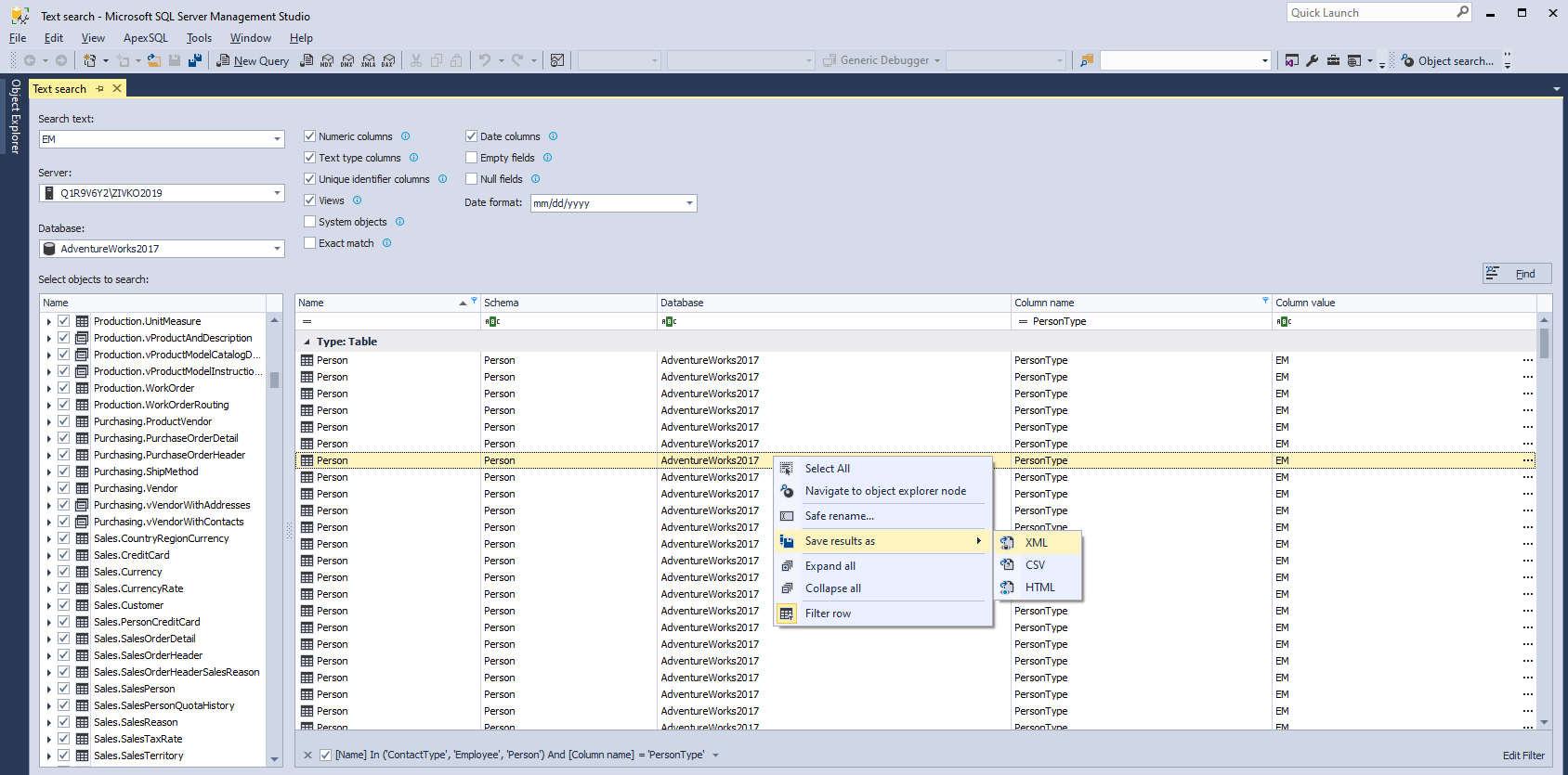 Export search SQL Server data