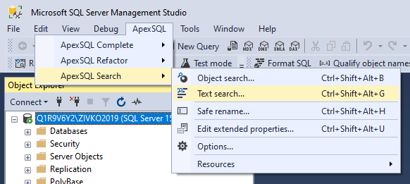 Text search command from ApexSQL main menu