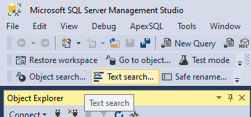 Text search command from toolbar