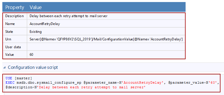 Account Retry Delay for database mail