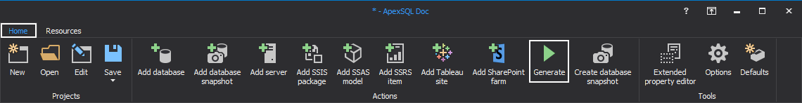 ApexSQL Doc main menu