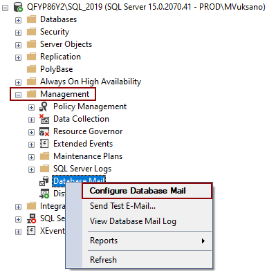 Configure database mail
