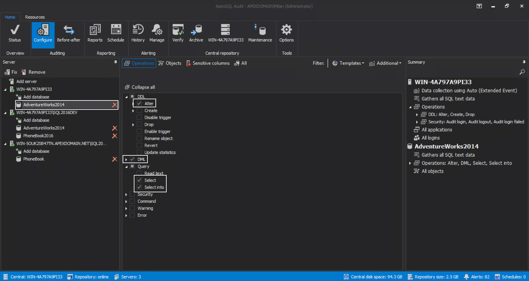 Configuring database for SQL audit