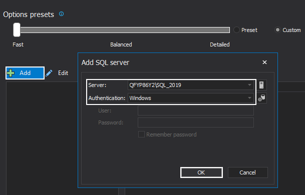 Connection to SQL Server using ApexSQL Doc